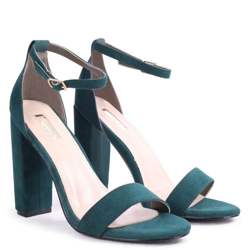 AMY - Green Suede Open Toe Barely There Block Heel
