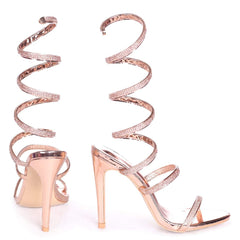 MARCIE - Rose Gold Structured Spiral Wrap Around Heel
