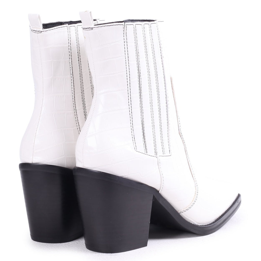EVITA - White Nappa Square Toe Cowboy Boot With Black Stitching