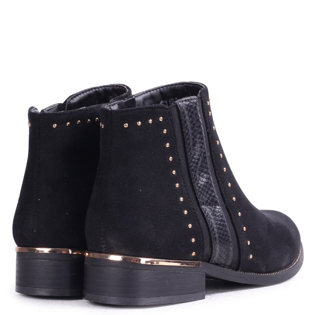 EMBER - Black Suede Ankle Boot with Snake & Stud Detailing