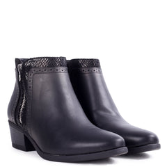 REMY - Black Nappa Heeled Ankle Boot with Snake & Zip Detailing