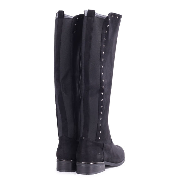 JOAN - Black Suede Knee High Boot with Stud Detailing