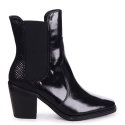 MINDY - Black Nappa Square Toe Cowboy Boot With Snake Back