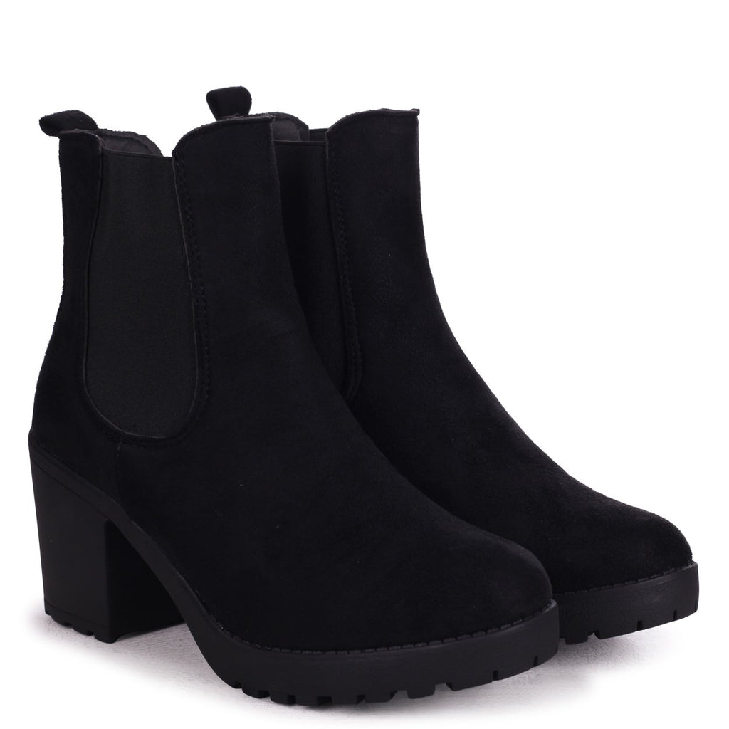 ANTONIA - Black Suede Chunky Chelsea Style Boot With Heavy Cleated Sole