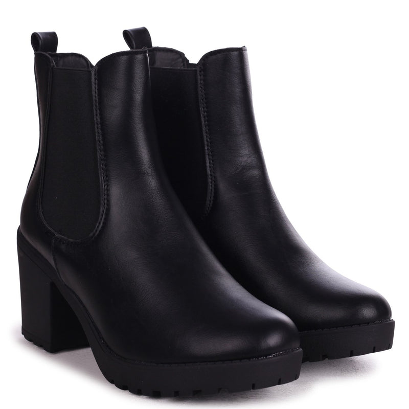 ANTONIA - Black Nappa Chunky Chelsea Style Boot With Heavy Cleated Sole