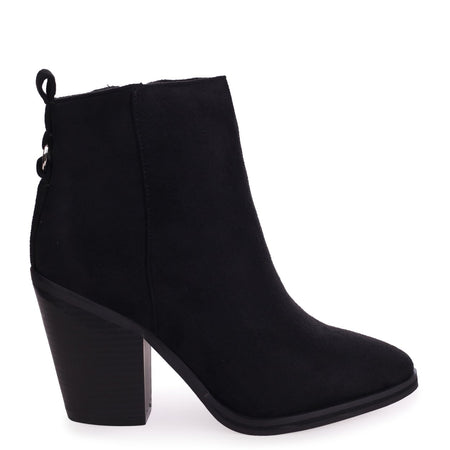 LEAH - Black Patent Extreme Chunky Chelsea Style Boot With Heavy Cleated Sole