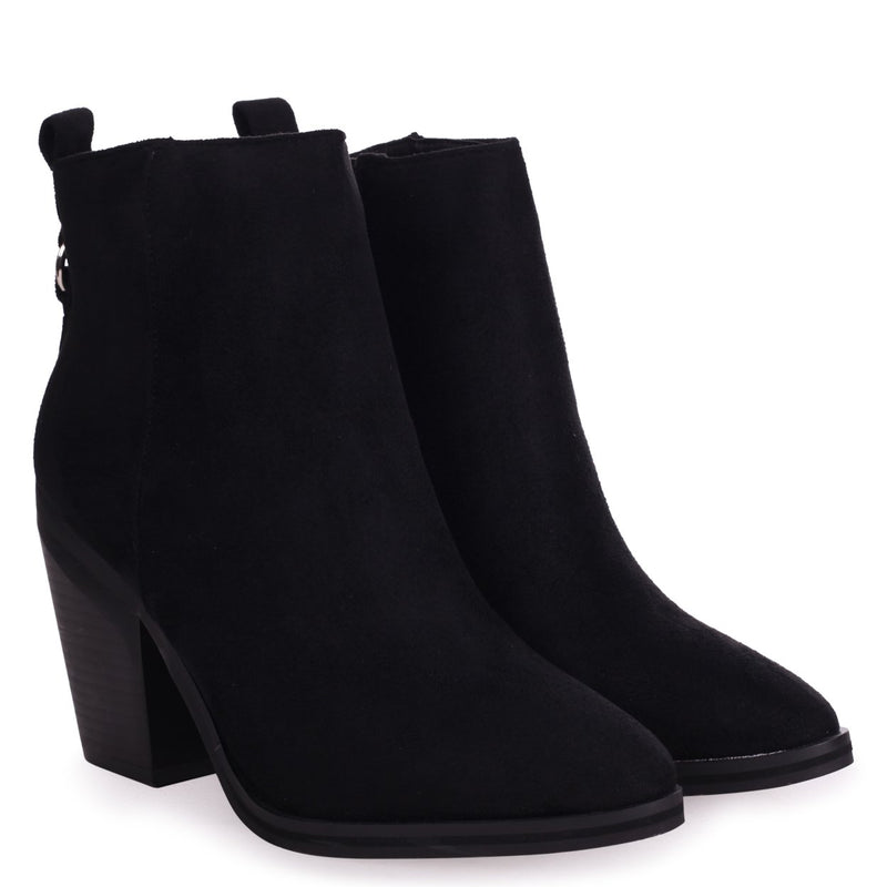 WHIZZ - Black Suede Block Heeled Cowboy Style Boot
