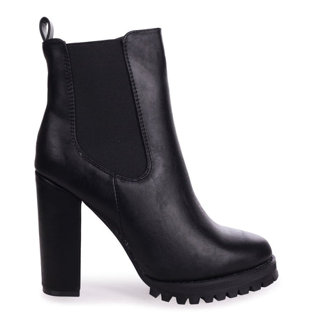 ROTATE - Black Nappa Pointed Toe Block Heeled Boot