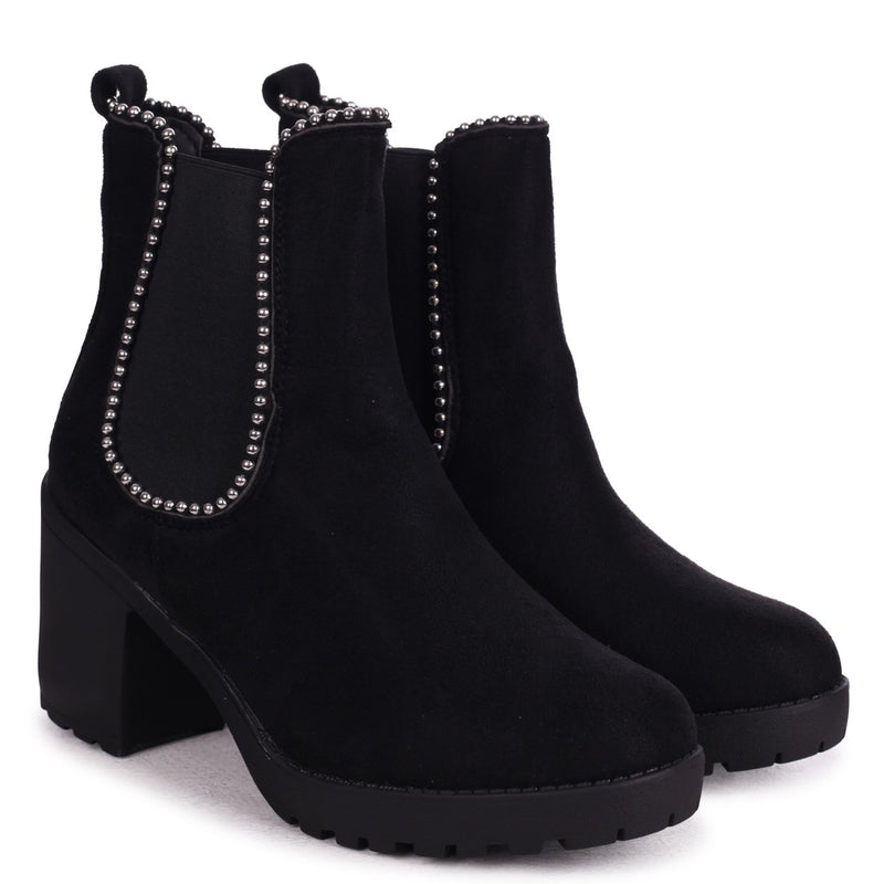 SUMMIT - Black Suede Chunky Cleated Sole Chelsea Style Boot With Studded Detail