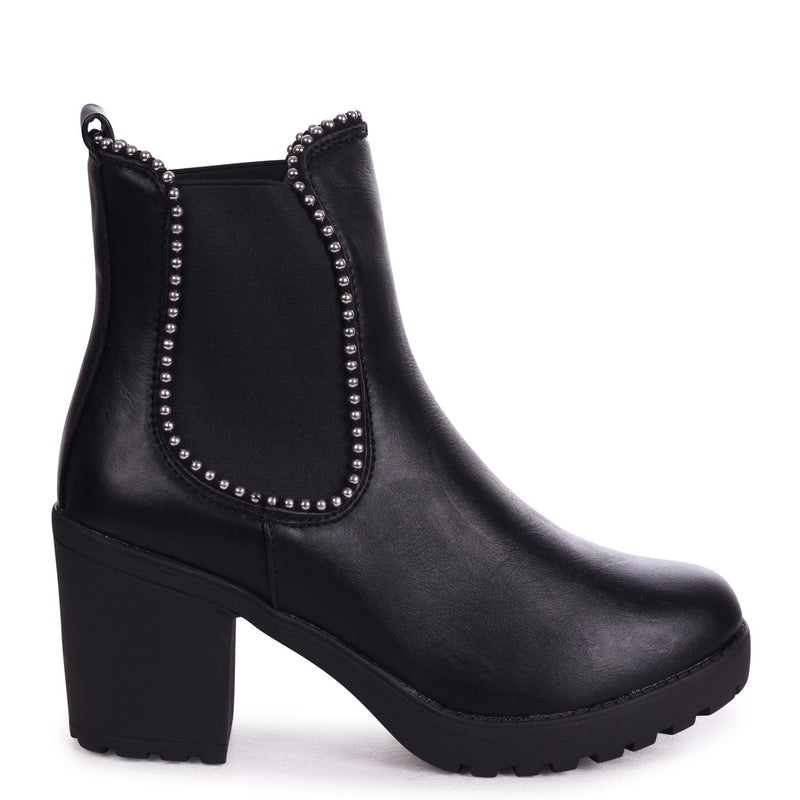 SUMMIT - Black Nappa Chunky Cleated Sole Chelsea Style Boot With Studded Detail
