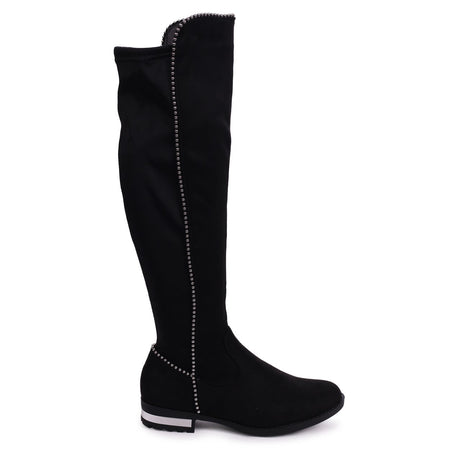 CHARM - Black Nappa & Suede Block Heeled Military Boot With Cleated Sole