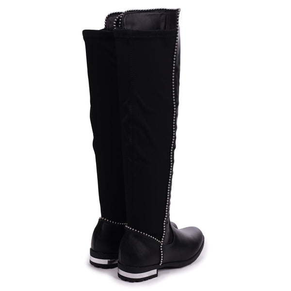 ZORA - Black Suede Long Boot With Studded Detailing & Lycra Back