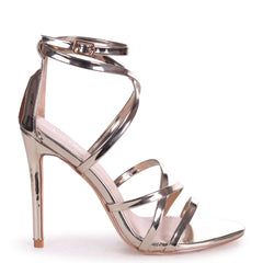 JENNIFER - Gold Chrome Strappy Stiletto Heel With Ankle Strap