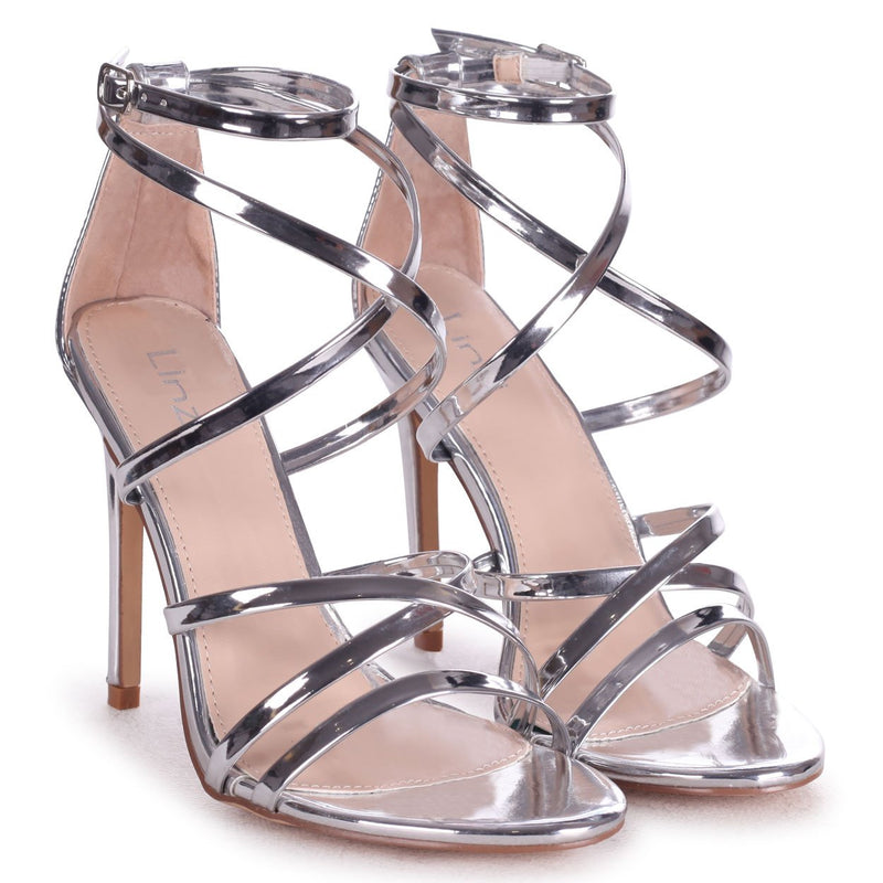 JENNIFER - Silver Chrome Strappy Stiletto Heel With Ankle Strap