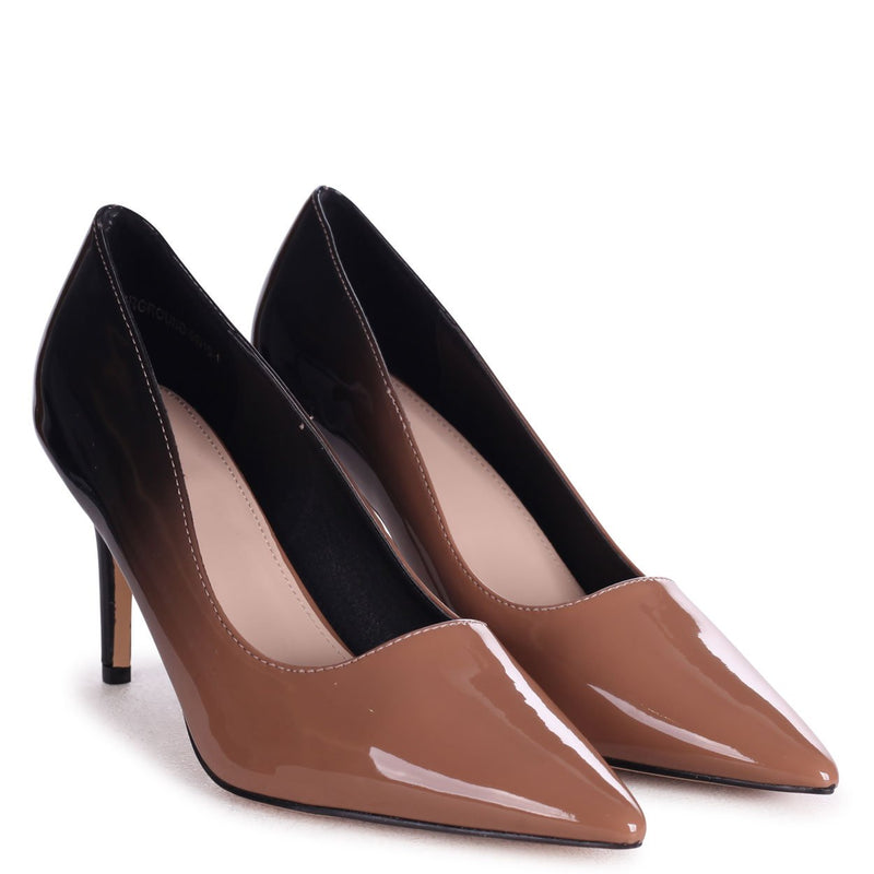 FAIRGROUND - Mocha Multi Ombre Patent Classic Pointed Court Shoe with Stiletto Heel