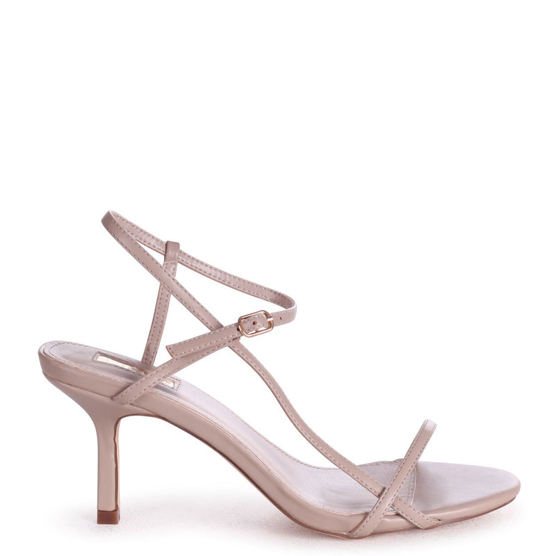 LILIYA - Taupe Nappa Strappy Low Stiletto Heel
