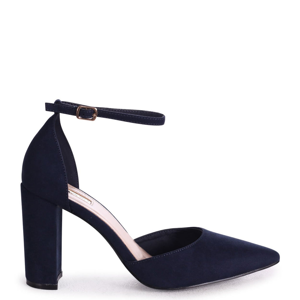 MARLIE - Navy Suede Court Shoe With Ankle Strap & Block Heel