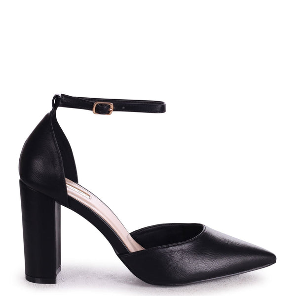 MARLIE - Black Nappa Court Shoe With Ankle Strap & Block Heel