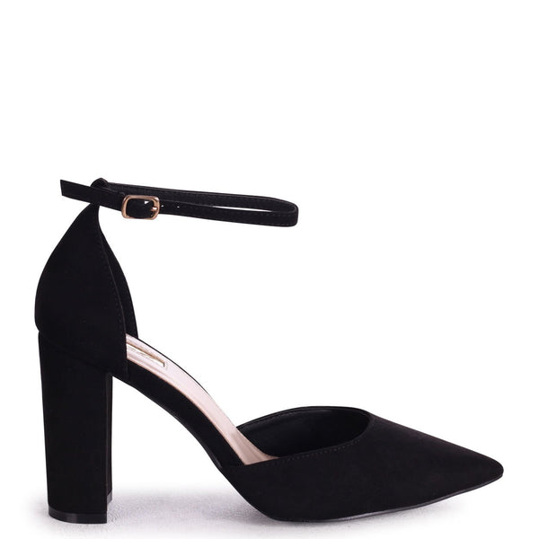 MARLIE - Black Suede Court Shoe With Ankle Strap & Block Heel