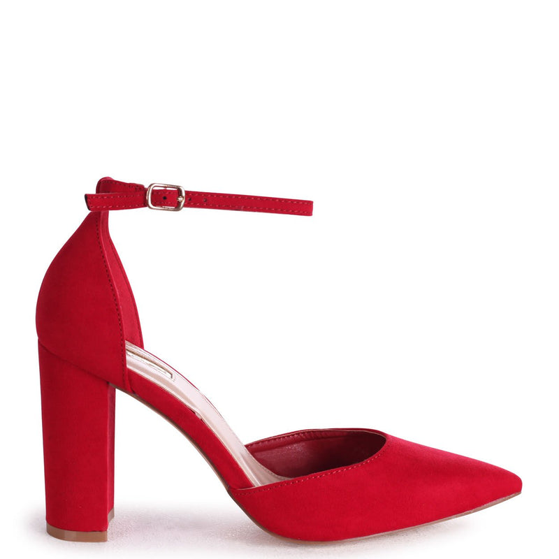 MARLIE - Red Suede Court Shoe With Ankle Strap & Block Heel