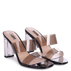 DENI - Black Perspex Mule With Double Smokey Front Strap & Plastic Block Heel