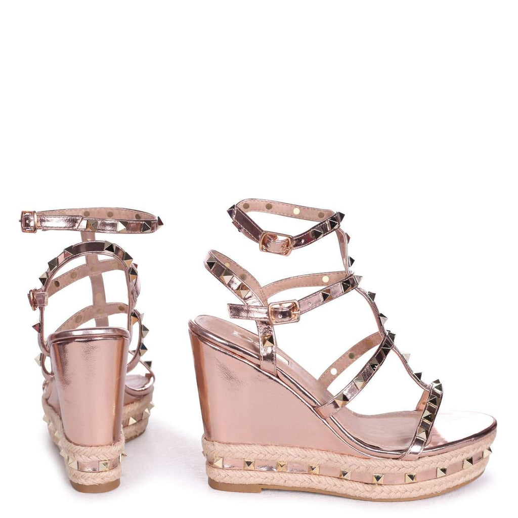 SHANON - Rose Gold Nappa Wedge With Studded Detail, Ankle Strap & Rope Trim