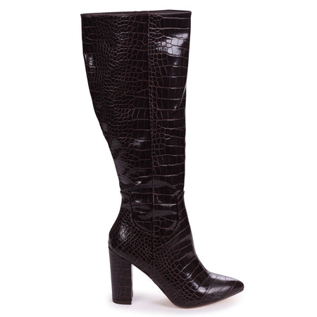 ASHLEE - Black Nappa Half Lycra Stretch Boot with Metal Heel Trim