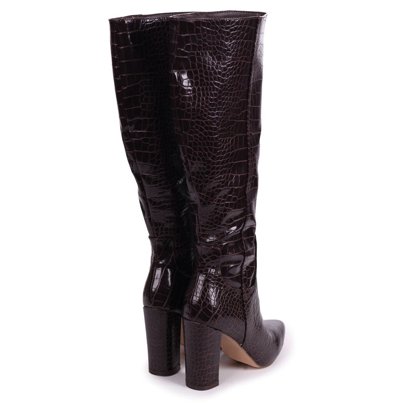 DIONNE - Brown Croc Cowboy Style Block Heel Long Boot