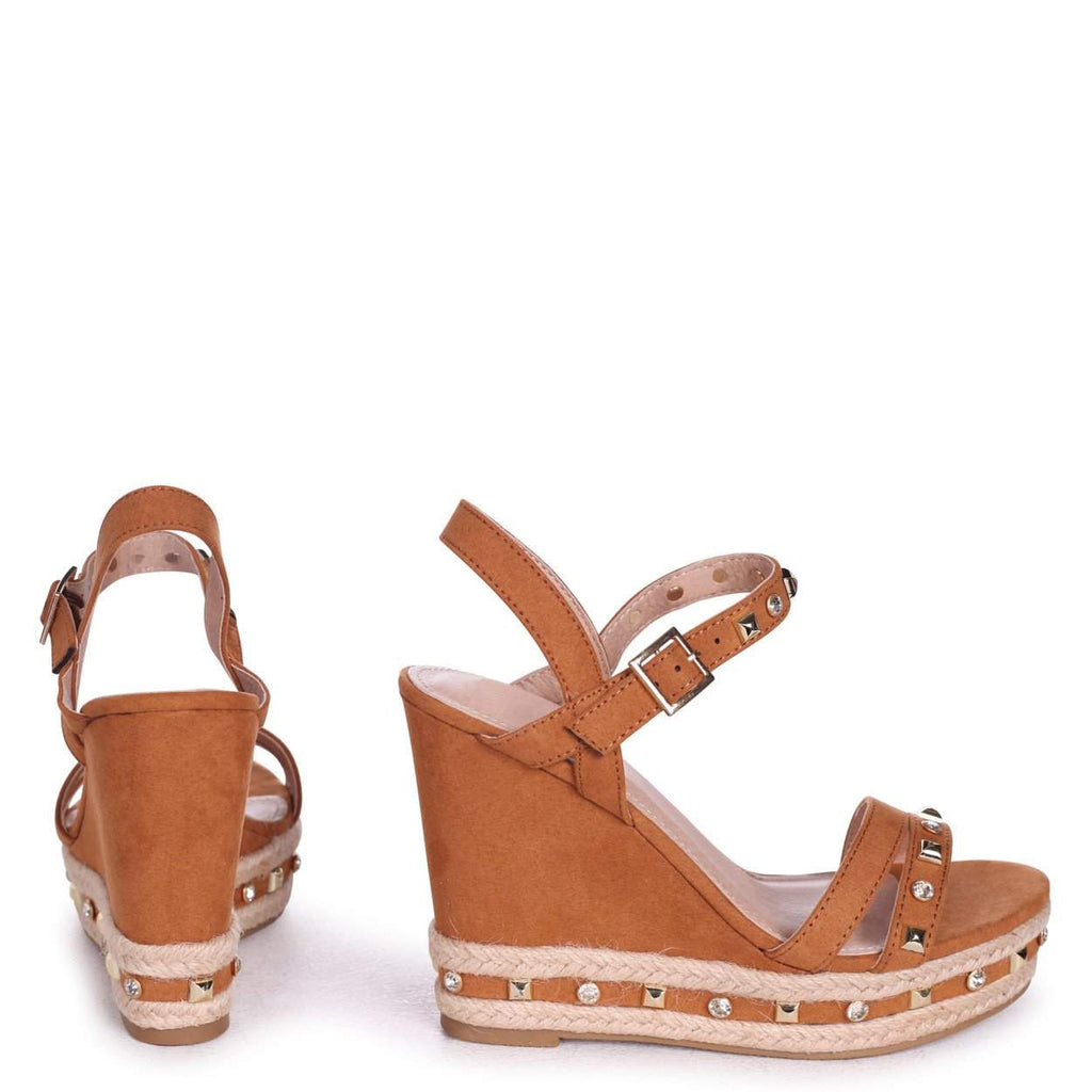35dcafdd0e3 Tan Suede Wedge With Mixed Studded & Diamante Detail With Rope ...
