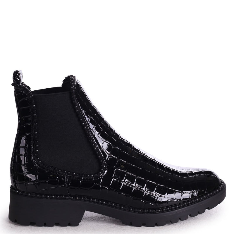 RULE - Black Croc Classic Chelsea Boot With Black Studded Detail