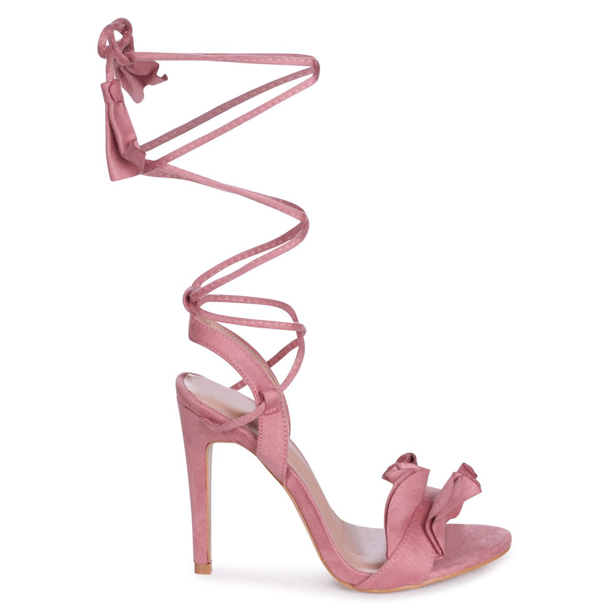 VIOLA - Pink Suede Lace Up Frill Stiletto Heel
