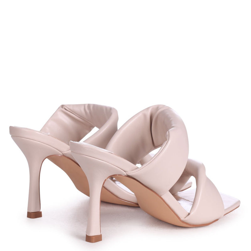RIVAH - Nude Nappa Padded Double Front Strap Slip On Square Toe Mule