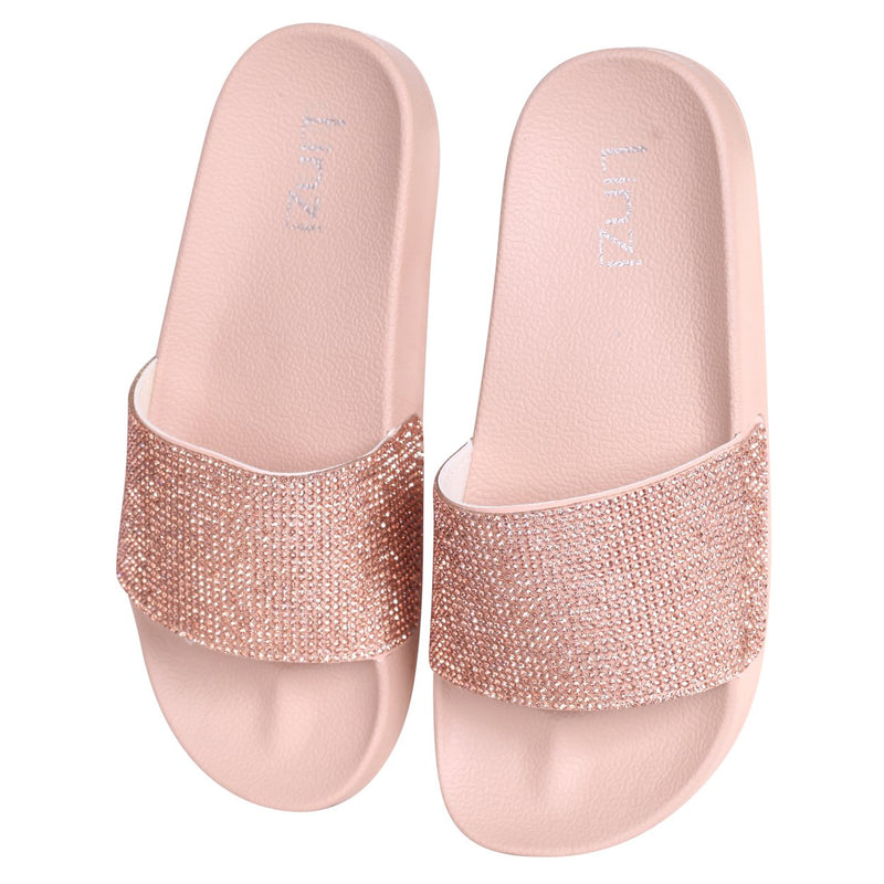 COCO - Nude Slip On Diamante Strap Sliders