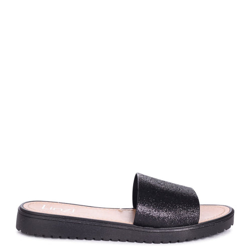 4f16f23d50c2 JACEY - Black Glitter Slip On Jelly Slider