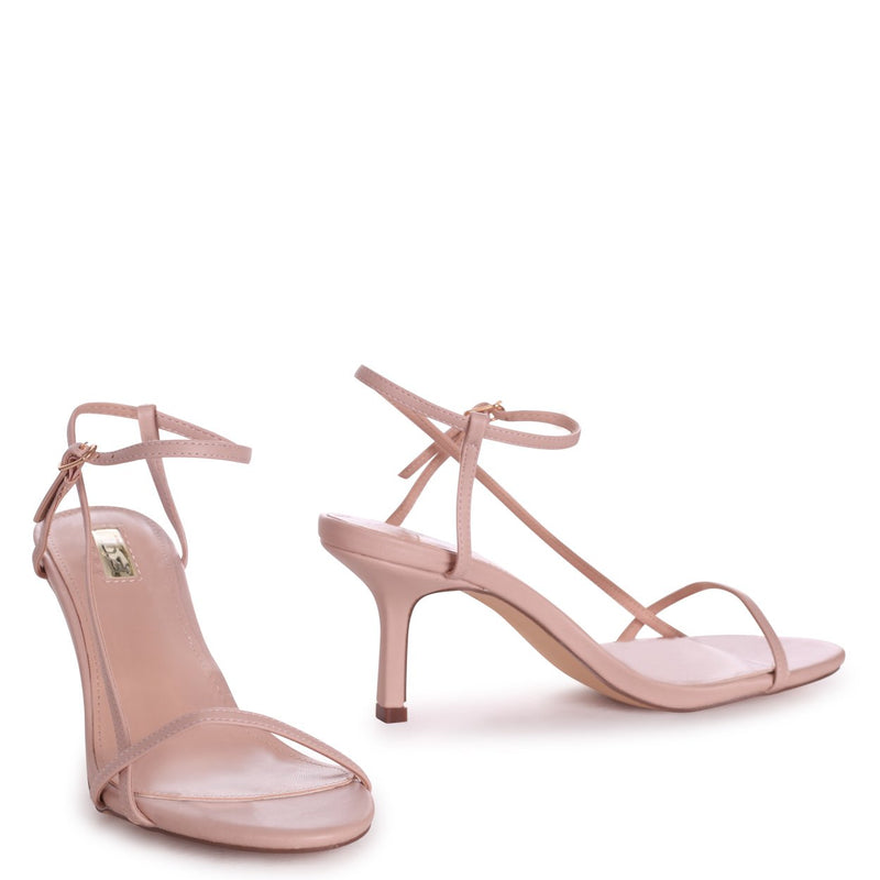 LILIYA - Nude Nappa Strappy Low Stiletto Heel