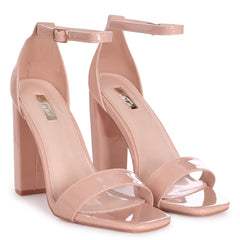 TORI - Nude Patent Square Toe Barely There Block Heel