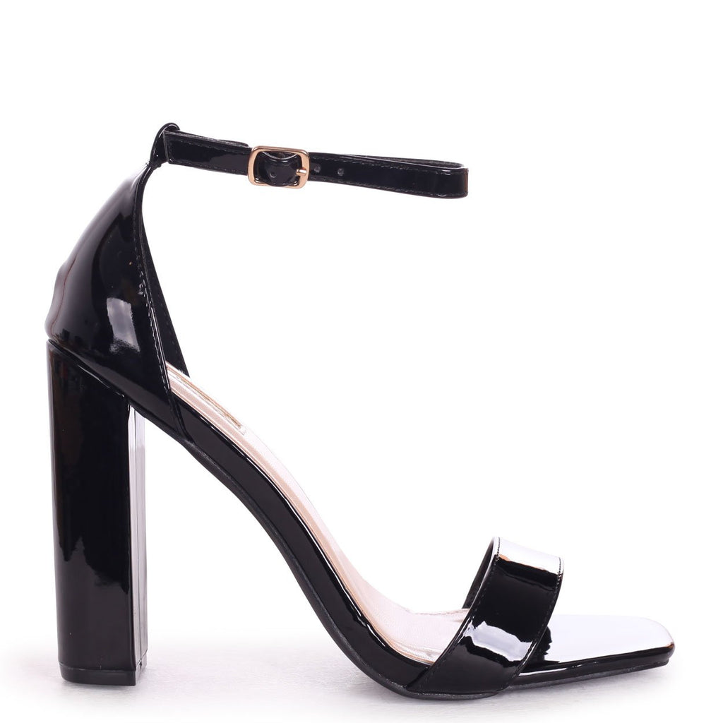 TORI - Black Patent Square Toe Barely There Block Heel