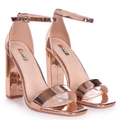 TORI - Rose Gold Chrome Square Toe Barely There Block Heel