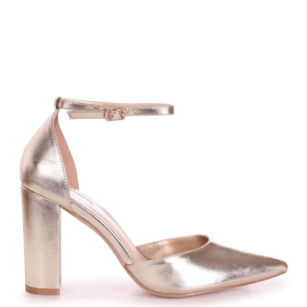 MARLIE - Gold Metallic Court Shoe With Ankle Strap & Block Heel
