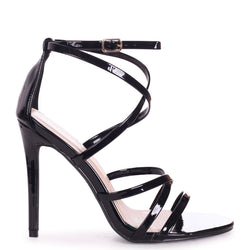 JENNIFER - Black Patent Strappy Stiletto Heel With Ankle Strap