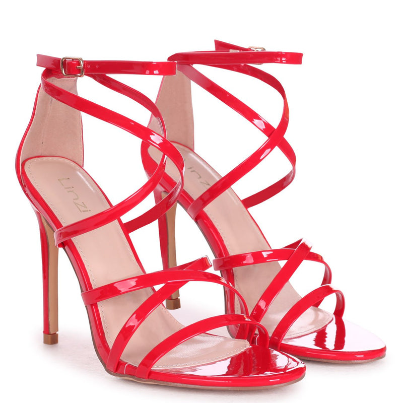 JENNIFER - Dark Red Patent Strappy Stiletto Heel With Ankle Strap