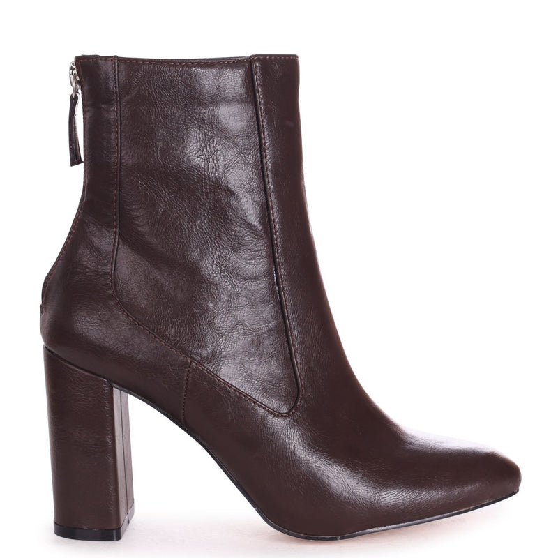 ONLY LOVE - Brown Nappa Round Toe Block Heeled Boot