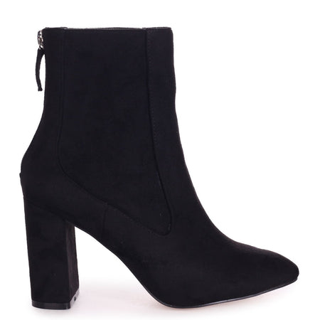 ARABELLA - Black Suede Ankle Boot With Snake Back Detail & Gold Outer Zip