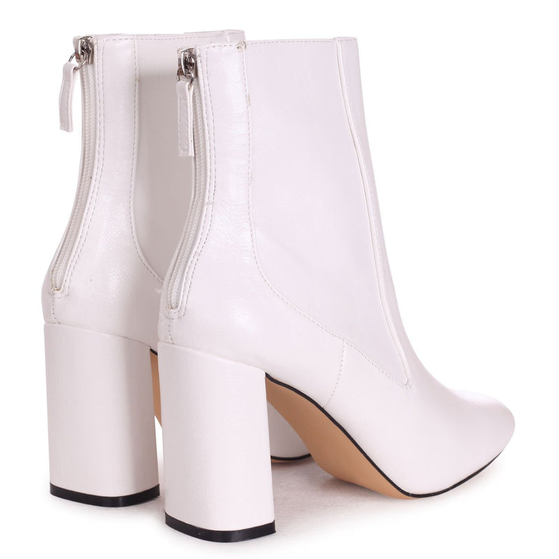 ONLY LOVE - White Nappa Round Toe Block Heeled Boot