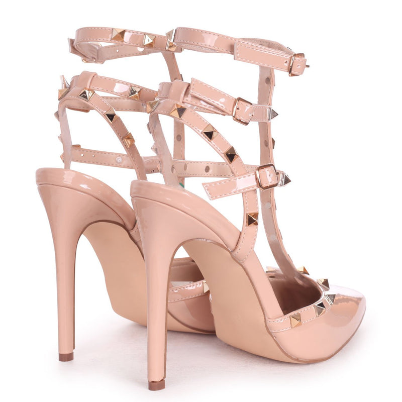 SO EXTRA - Nude Patent Gladiator Style Studded Court Heel