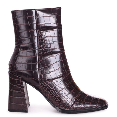 WHIZZ - Black Patent Croc Block Heeled Cowboy Style Boot