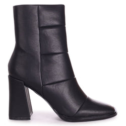 SIMPLY - Black Nappa Square Toe Boot With Block Heel