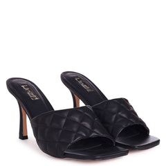 SICILY - Black Nappa Square Toe Heel With Quilted Front Strap
