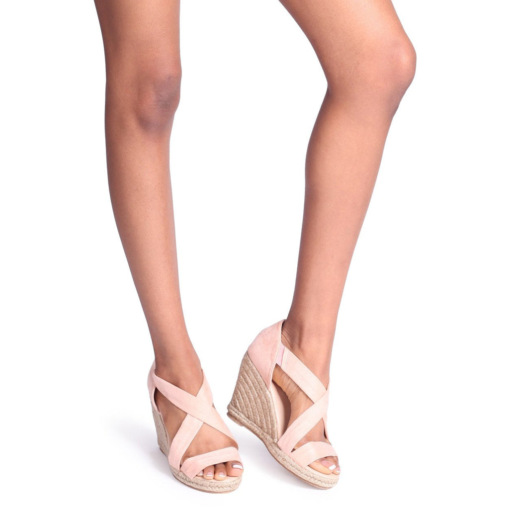 BOMBSHELL - Nude Patent Court Shoe With Flared Heel