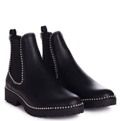 RULE - Black Nappa Classic Chelsea Boot With Silver Studded Detail